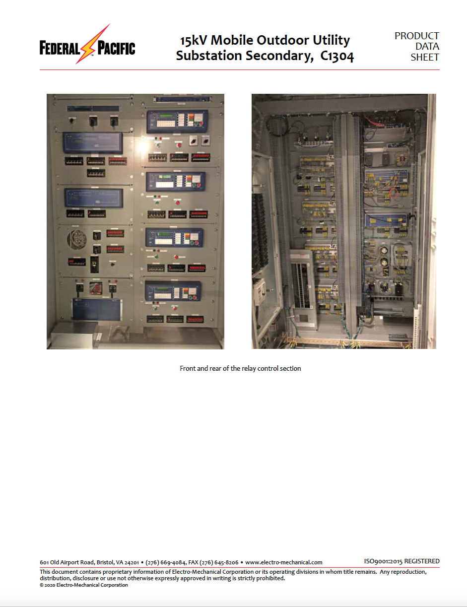 15kV Mobile Outdoor Utility Substation Secondary C1304
